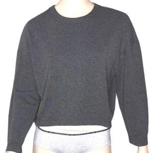 Club Monaco Cropped Grey Hi-Lo Pullover Sweater